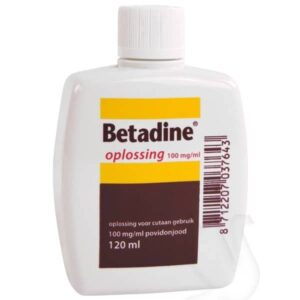 Betadine Jodium oplossing, 100mg/ml, flacon 120ml, per stuk
